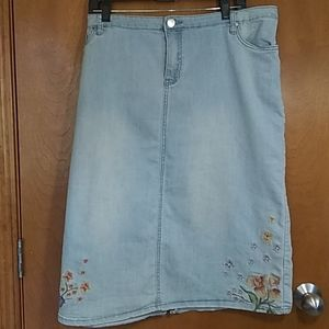 CJ Banks Plus size washed denim skirt
